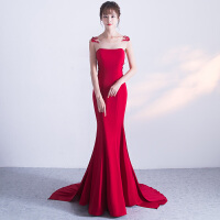 晚礼服2018春季新款新娘结婚修身敬酒服长款主持人红色宴会礼服女