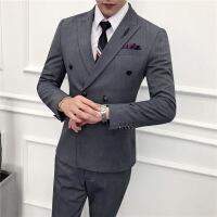 男秋冬外套秋冬新款潮流韩版修身发型师双排扣西装三件套男士结婚礼西服套装