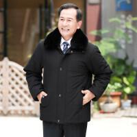 2018新款中年男士爸爸冬装外套中老年棉衣冬季大毛领加厚棉袄