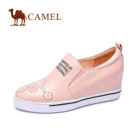 camel骆驼女鞋 潮流时尚休闲 牛皮圆头内增高百搭高跟女单鞋