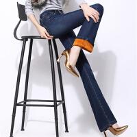 中年韩版秋冬加绒加厚微喇叭牛仔裤女大码胖mm直筒妈妈装高腰长裤 深蓝色 深蓝色加绒加厚