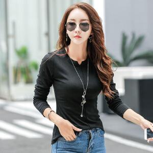 韩版秋季新款纯色显瘦小V领长袖t恤女外穿棉质白色紧身打底衫女