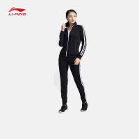 李宁运动套装女士训练开衫无帽卫衣套装长袖长裤运动服AWEM018