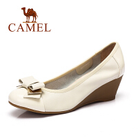 camel骆驼女鞋 时尚休闲女鞋 春季新款牛皮坡跟单鞋
