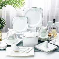 景德�陶瓷碗碟套�b 家用�W式��s骨瓷餐具套�b 碗�P家用碗筷�M合