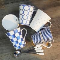 办公水杯带盖 4个套装杯子 简约创意陶瓷杯 欧式咖啡杯马克杯