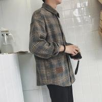 衬衫男学生春秋季毛呢料复古格子落肩长袖衬衫韩版青年宽松潮流外套男士衣服