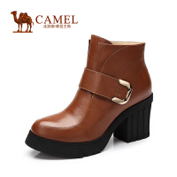 Camel骆驼女鞋 新品 优雅百搭 圆头牛皮魔术贴扣带高跟女靴