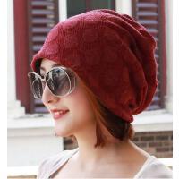 男女通用暗纹头巾帽户外新款针织保暖护耳包头光头孕妇帽情侣帽堆堆时尚简约帽
