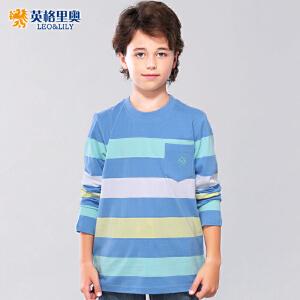 英格里奥男童条纹长袖t恤中大童儿童圆领休闲上衣打底衫兰底白条