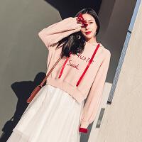 粉色连帽卫衣2017新款女韩版宽松百搭上衣长袖套头帽衫卫衣潮秋冬 粉色