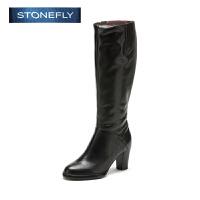 STONEFLY/斯通富来冬季牛皮时尚侧拉链中跟粗跟舒适长靴女靴SD44117065