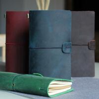 A6创意绑带活页手帐本复古旅行日记本头层疯马牛皮笔记本子记事本