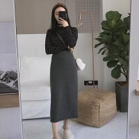 牛绒羊毛裙秋冬针织半身裙韩版高腰中长款过膝一步裙包臀裙子长裙 灰色 2.25号后发 均码