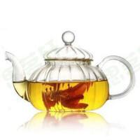 楼龙 耐热玻璃壶 创意透明茶壶 功夫茶具套装 南瓜式花料壶 CF-122       1309