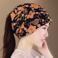 孕妇帽扎马尾帽女花朵透气凉爽头巾帽套头包头脖套帽