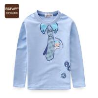 【潮童运动会】中大童圆领T恤 童装男童秋装假领结全棉毛圈拼接领包边长袖T恤