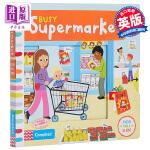 【中商原版】纸板机关书 带很多可以操作的机关 Busy Supermarket 繁忙的市场超市 英文原版纸板书操作启蒙