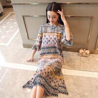 真丝连衣裙桑蚕丝春装2018新款女装中长款宽松显瘦度假裙气质长裙 图片色