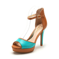 Fondberyl/菲伯丽尔 夏款羊皮包跟中空鱼嘴高跟女凉鞋FB42118825