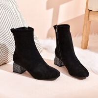 19珂卡芙冬季新款【亮片粗跟】时尚温柔短靴百搭时装靴舒适女靴