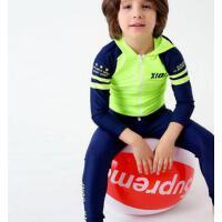 儿童泳衣男童分体冲浪服中大童拼接长袖防晒速干度假潜水母衣 支持礼品卡