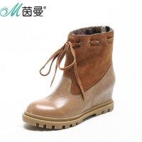 茵曼女鞋 2016冬季新品马丁靴加绒牛皮圆头内增高中筒靴女靴子