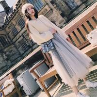 2018新款女装套装春装新款女装2018仙气连衣裙V领毛衣+中长款网纱裙两件套装女 上衣+裙子 X