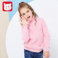 【秋季新品】小猪班纳女童针织衫儿童打底衫中大童套头高领毛衣2017冬装新款