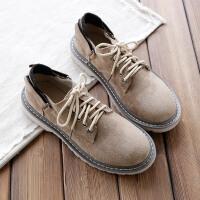 欧美磨砂绒面厚底马丁鞋春季单鞋低帮圆头系带舒适休闲鞋