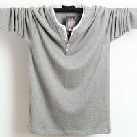秋冬季新品大码长袖T恤加肥加大男装宽松双层领胸围M-6XL肥佬装潮8898