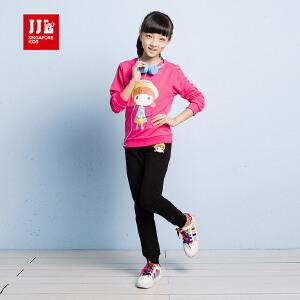 JJLKIDS季季乐童装女童套装春秋款新品女大童圆领运动休闲2件套GQZ61337