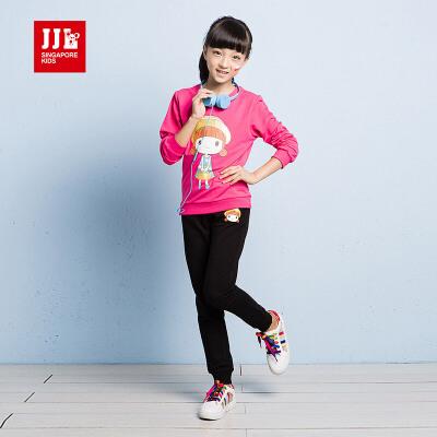 JJLKIDS季季乐童装女童套装春秋款新品女大童圆领运动休闲2件套GQZ61337专柜同款