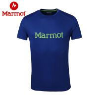 Marmot/土拨鼠速干T恤男款透气排汗圆领速干短袖T恤
