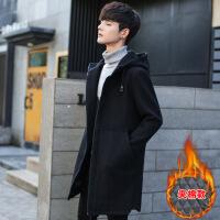 冬季休闲外套中长款风衣加厚男士帅气韩版修身青年冬装呢子大衣潮88201