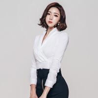 新款优雅修身女衬衫长袖女上衣韩版2018新款时尚女装OL职业性感V领修身白领衬衫女 白色