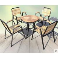 户外时尚简约桌椅阳台三五件套茶几户外庭院家具组合实木铁艺休闲室外椅子休闲新款