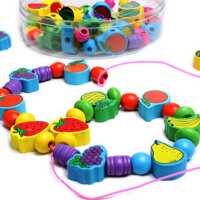 幼得乐 儿童益智玩具 木制水果串珠穿线积木 穿珠子 注意力训练