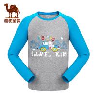 camel小骆驼童装2017年秋冬季新品儿童长袖休闲圆领T恤男女童运动卫衣