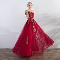 一字肩敬酒服新娘长款2018新款冬季时尚显瘦结婚宴会晚礼服红色女 一字肩礼服长款