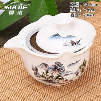家用功夫茶具套装三才碗白瓷陶瓷普洱茶壶盖碗茶杯大号泡茶碗