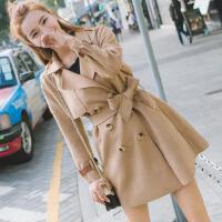 2018春秋新款韩版风衣女小个子中长款百搭系带修身时尚鹿皮绒外套 XS 建议100斤以下