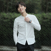 衬衫男学生春秋薄款纯棉立领衬衫男长袖韩版修身寸衫圆领衬衣帅气休闲白衬衫 白色