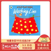 #点读版 进口英文原版 交错页翻翻书 A Flip-Flap Book:Washing Line 吴敏兰书单 支持毛毛虫