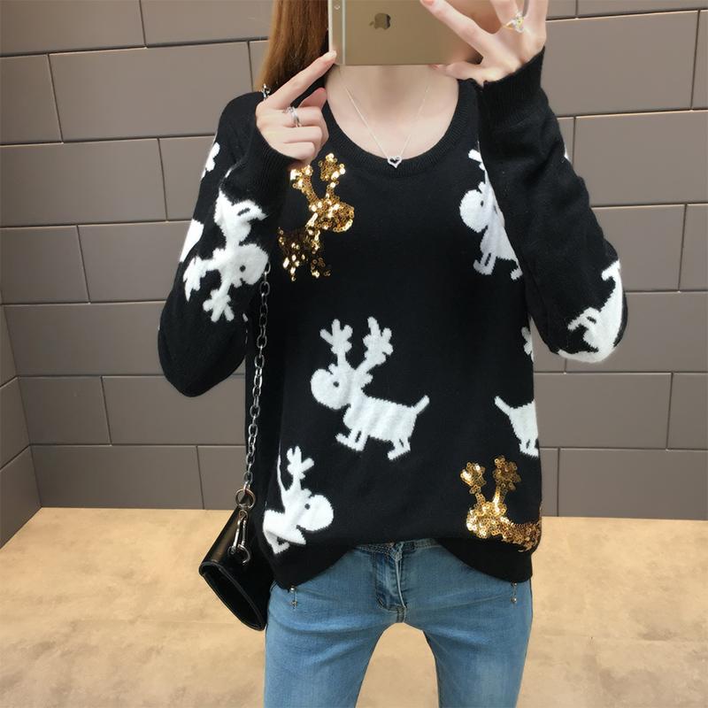 潮流新款女款韩版卡通长袖针织衫百搭上衣