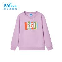 【折后叠券预估价:74】361度童装女童长袖加绒套头卫衣2021年春季新品中大童运动上衣