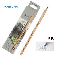 MARCO/马可 7001-12CB 高级绘图铅笔12支装/5B 原木杆初学者素描笔专业美术用品画材套装速写笔儿童全灰