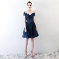 晚礼服女2018新款一字肩时尚短款性感派对小礼服连衣裙聚会礼服夏 深蓝色
