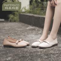 玛菲玛图2020秋季新款单鞋甜美一字水钻平底鞋百搭浅口低跟鞋2890-8