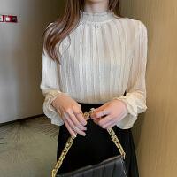 秋冬款蕾丝打底衫女长袖荷叶边领加绒加厚打底衫显瘦上衣